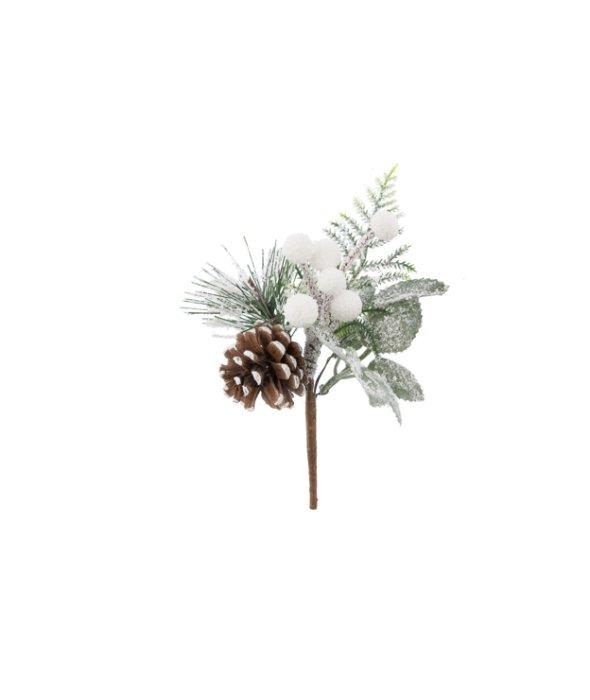 Pick pigna-bacche bianche innevato 15 cm