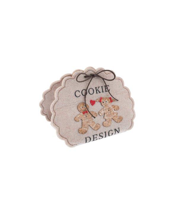 Borsetta feltro cookie bordo merletto 18×14 cm