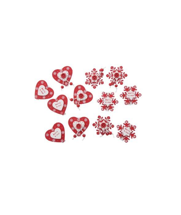 Molletta legno bianco-rosso cuore/fiocco 3cm 6pz