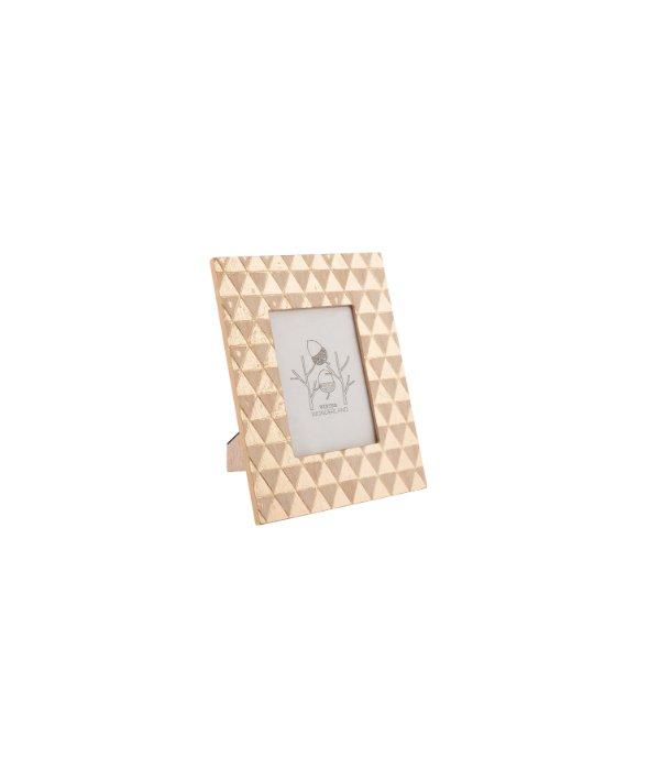Portafoto legno deco geometrico oro 17×22 cm