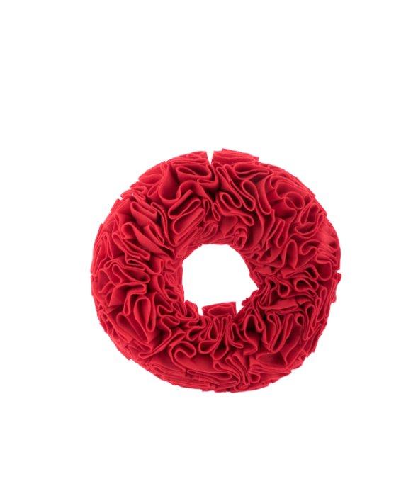 Corona feltro rosso effetto plissè 31×6 cm