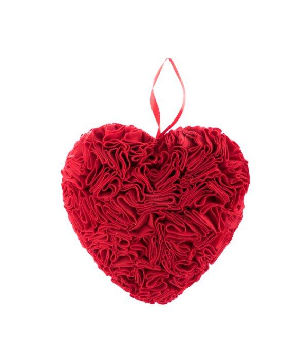 Cuore feltro rosso plissé 35x34x20 cm