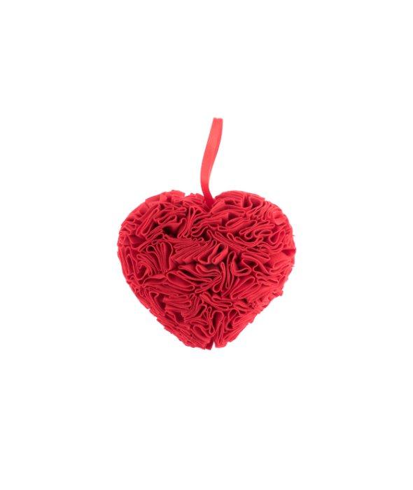Cuore feltro rosso plissé 28x30x17 cm
