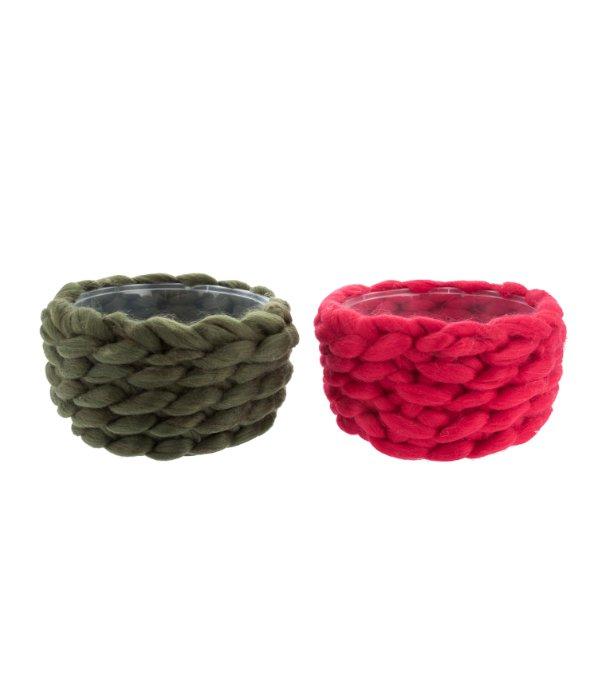Cestino lana rosso/verde assortito d.20 cm