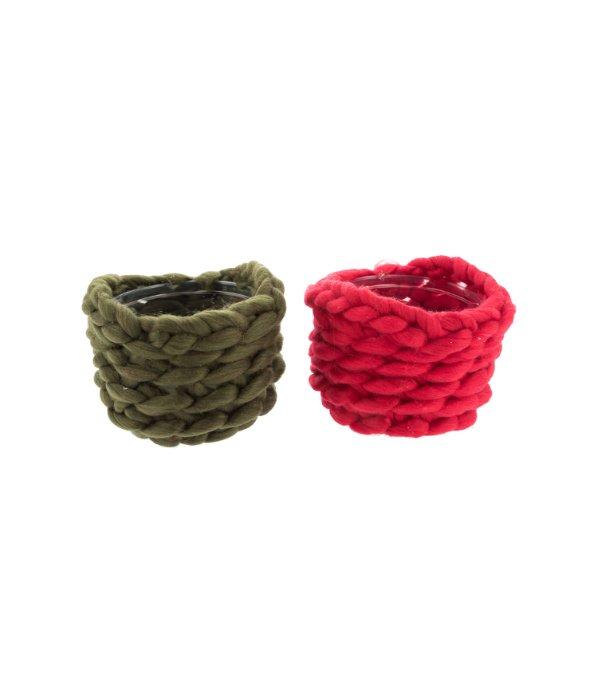 Cestino lana rosso/verde d.17 cm