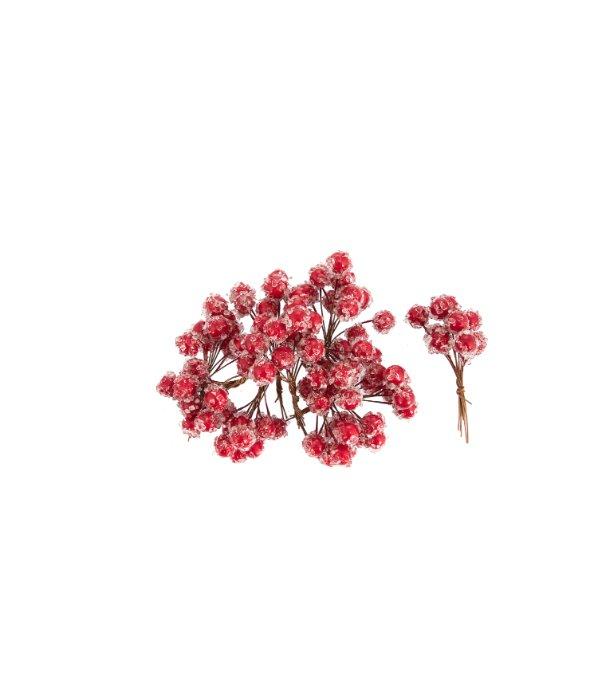 Bacche rosse ghiacciate 100pz d.1 cm