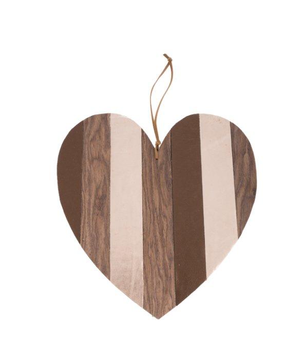 Pendente cuore ecopelle e legno marrone 27 cm