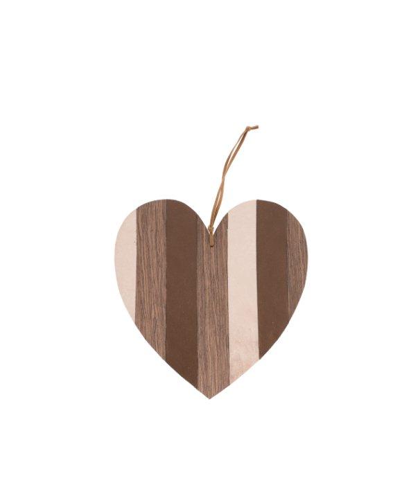 Pendente cuore ecopelle e legno marrone 20 cm