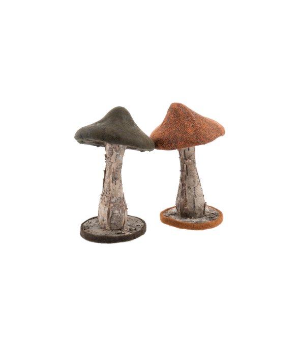 Fungo ecopelle/corteccia verde-arancio 22 cm