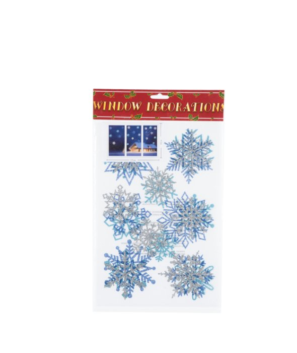 Vetrofania glitter fiocco neve colori assortiti 22pz