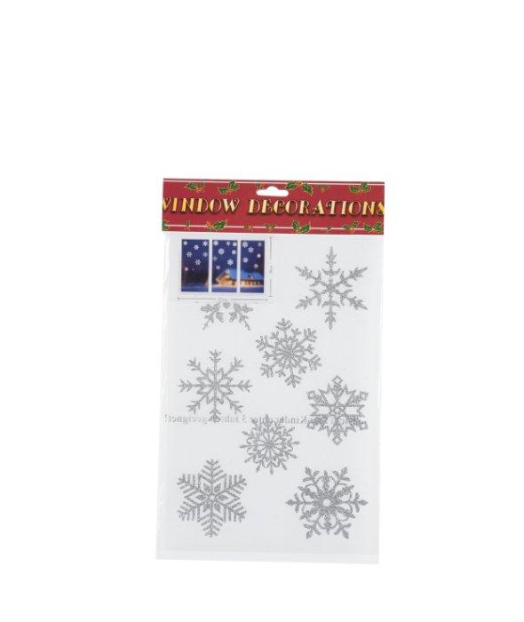 Vetrofania glitter fiocco neve bianco/argento  22pz