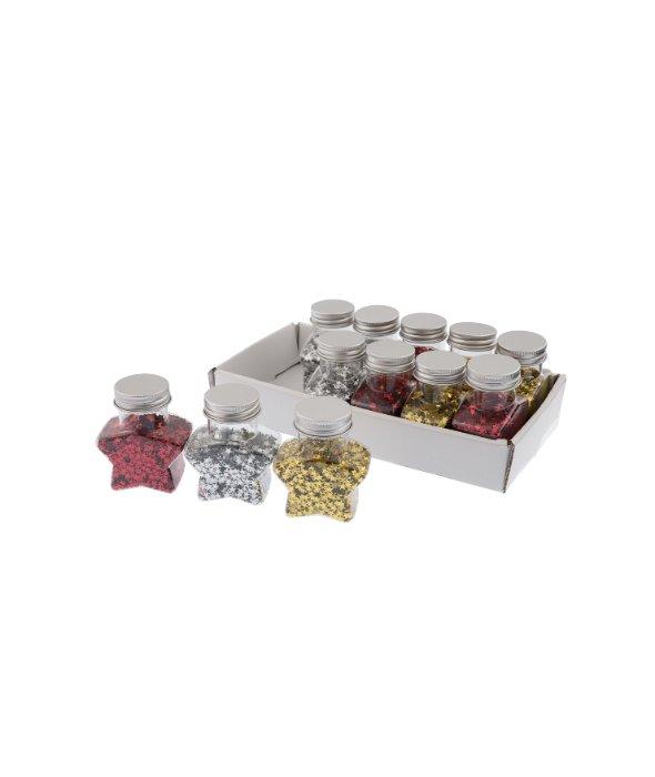 12 barattoli coriandoli stelline colori assortiti  50gr