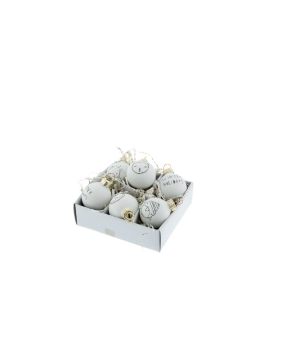 6 sferine vetro bianche decorate d.3 cm