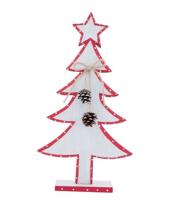Albero legno bianco/rosso pois con pigne h.40 cm