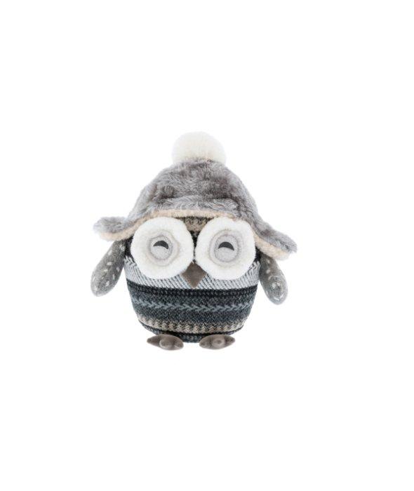 Fermaporta civetta tessuto grigioc/cappello 16×20 cm