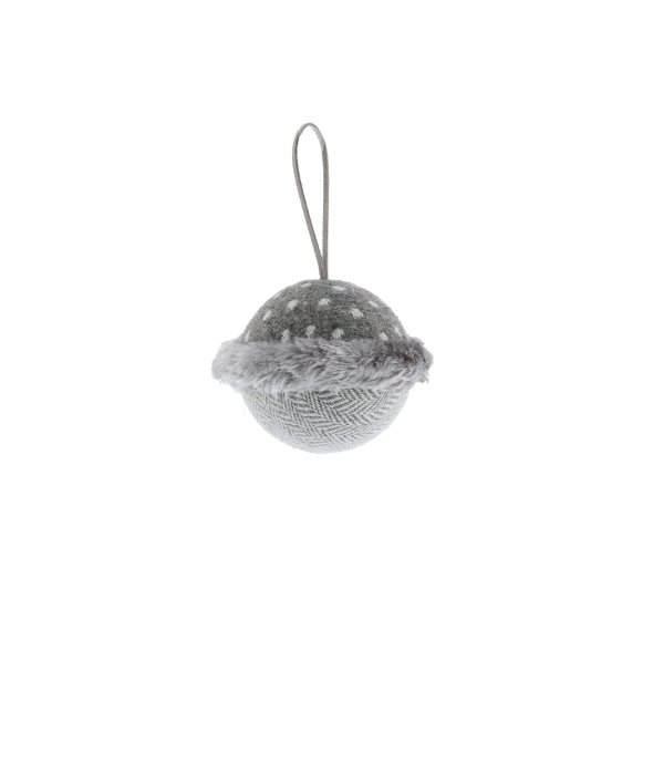 Sfera tessuto grigio pois/spigato bianco d.8 cm