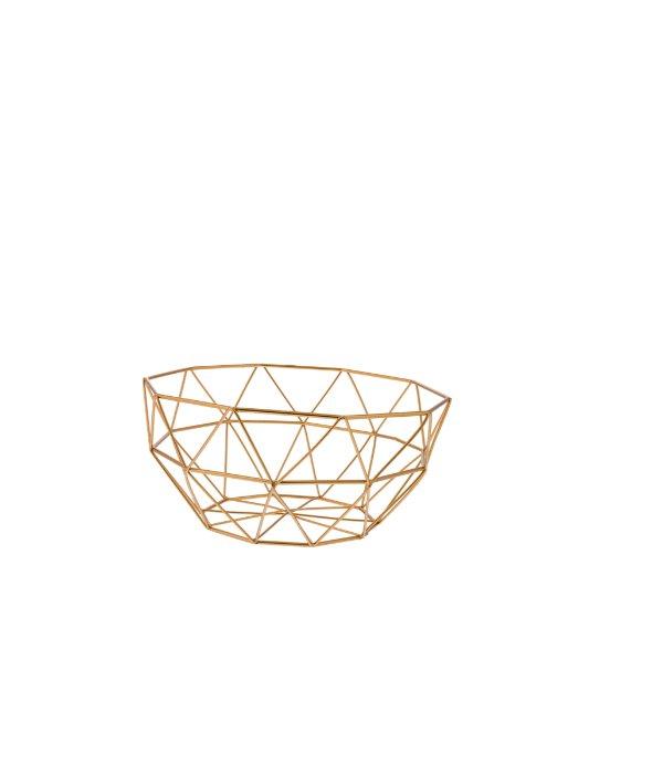 Cestino filo metallo oro 12×24 cm