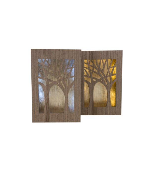 Paesaggio alberi legno c/luce assortito 20×30 cm