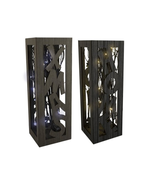 Lampada legno c/rami e luce assortita 16×47 cm