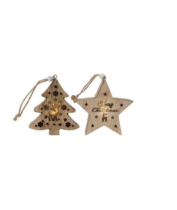 Pendente stella/pino legno c/luce 9 cm