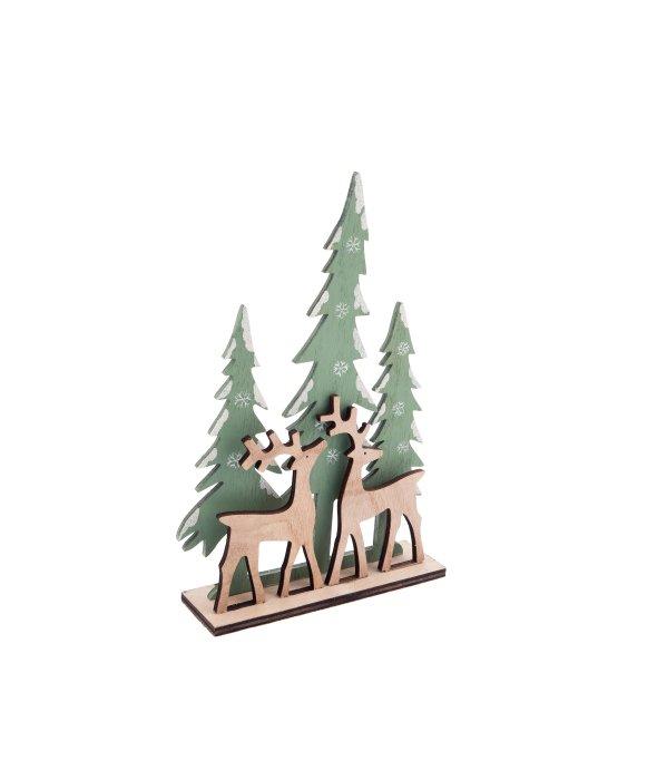 Paesaggio legno c/renne verde acqua 17×26 cm