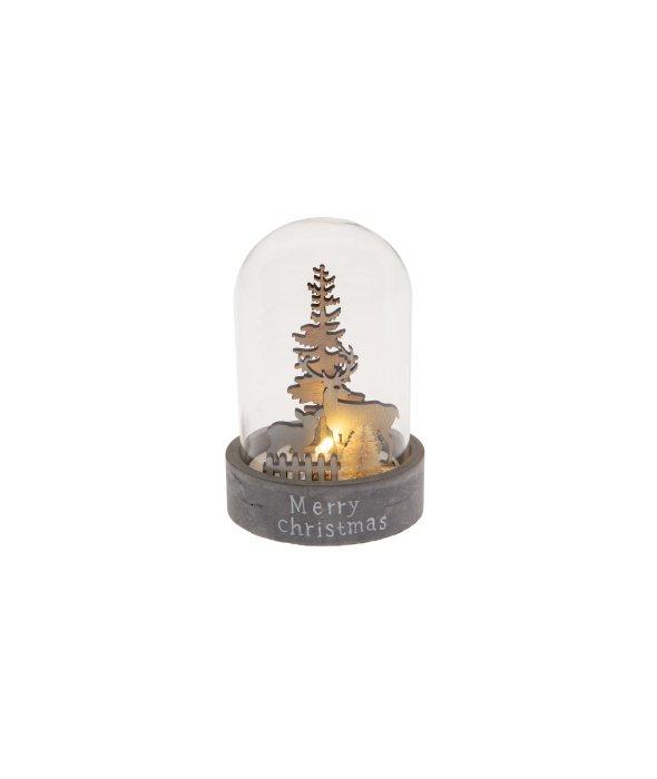 Campana vetro e cemento paesaggio legno c/luce 8×12 cm