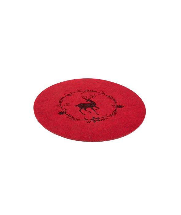 Sottopiatto feltro rosso decoro renna d.38 cm