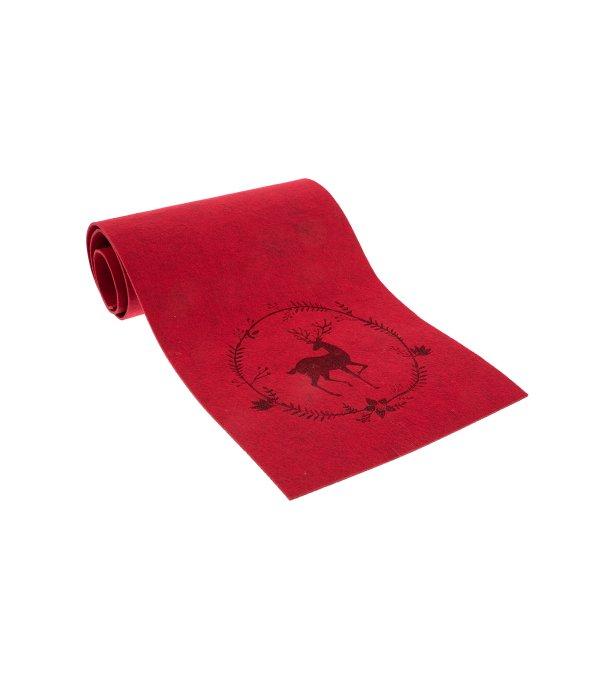 Runner feltro rosso decoro renna 30×120 cm