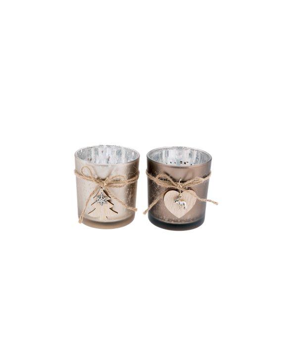 Portacandela vetro satinato/ legno assortito7x8 cm