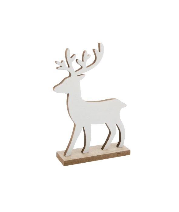 Renna legno bianco c/base 16×25 cm