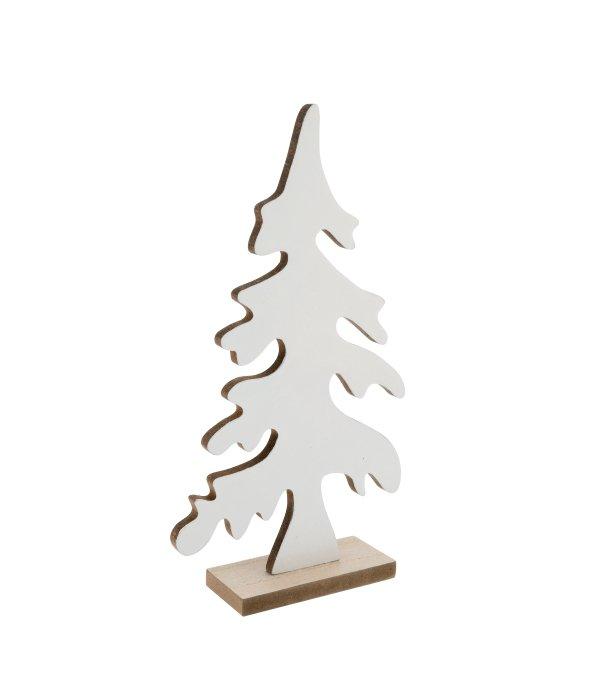 Pino stilizzato legno bianco c/base 16×31 cm