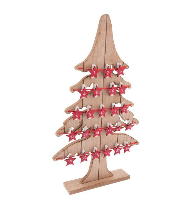 Calendario Avvento pino legno c/mollette stelline rosse 29×49 cm