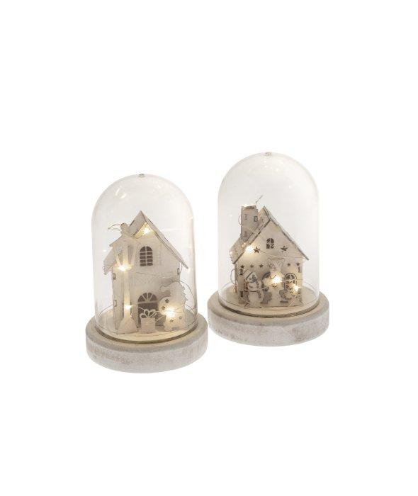 Campana plastica casa legno c/luce assortita 10x15cm