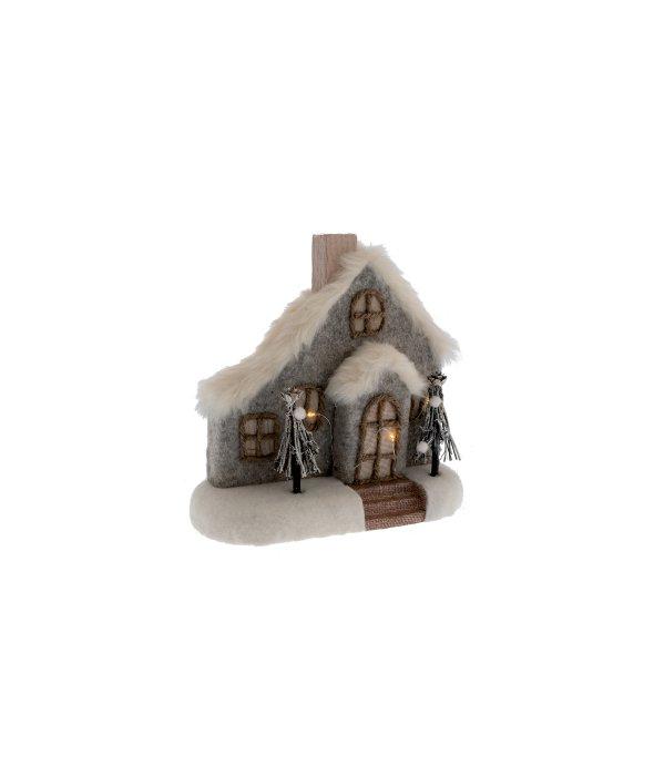 Casa lana cotta-pelo sintetico c/gioco luci 25×27 cm