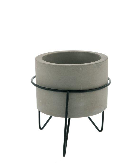 Vasetto cemento treppiedi metallo 11,5×13 cm