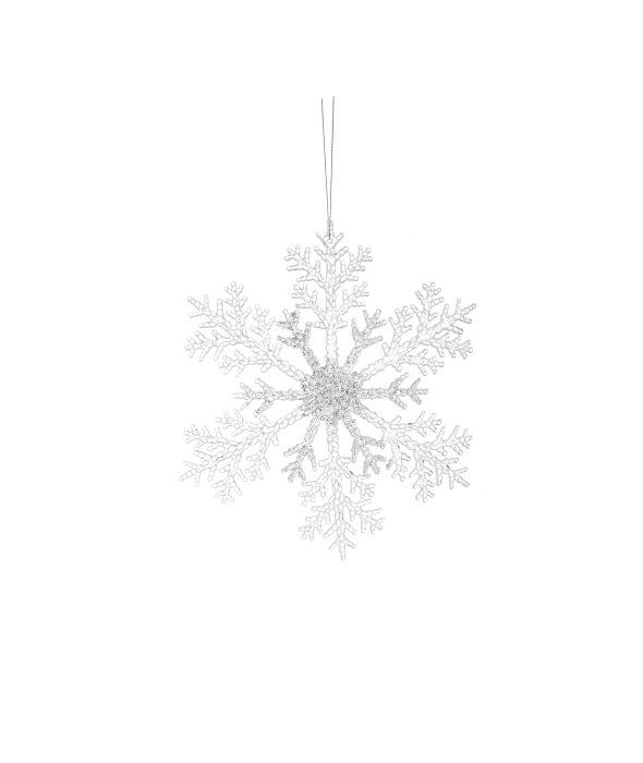 Pendente fiocco neve acrilico glitter 25 cm