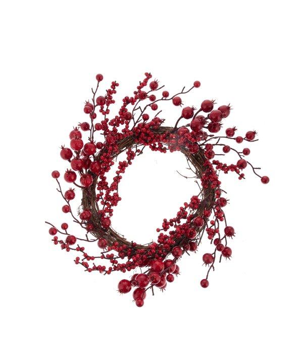 Corona bacche e melograno rosso d.40 cm