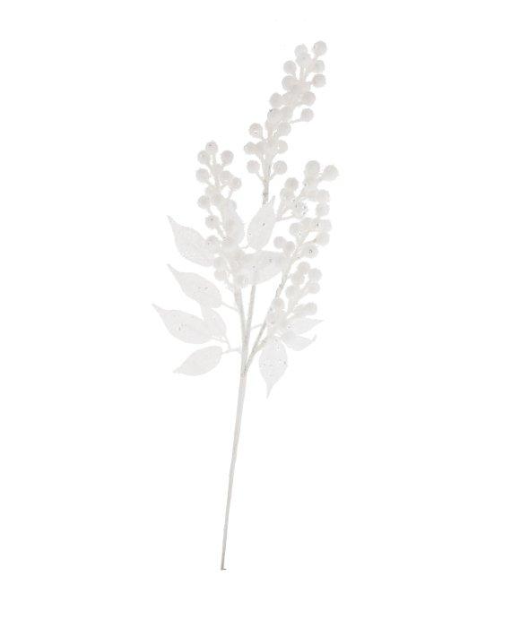 Ramo bacche bianco brinato 65 cm