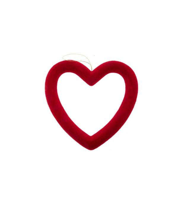 Pendente cuore traforato floccato rosso 26 cm