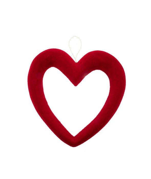 Pendente cuore traforato floccato rosso 34 cm