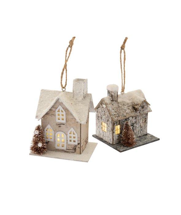 Pendente casa effetto legno c/luce assortita 9×11 cm