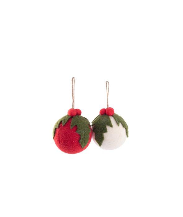 Sfera feltro agrifoglio rosso/bianco d.12 cm