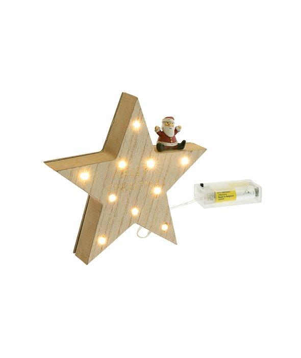 Stella legno Babbo resina c/luce 15,5 cm