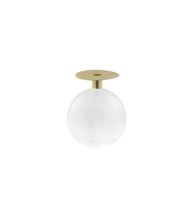 Vaso ampolla vetro coperchio metallo oro 13,5×18 cm