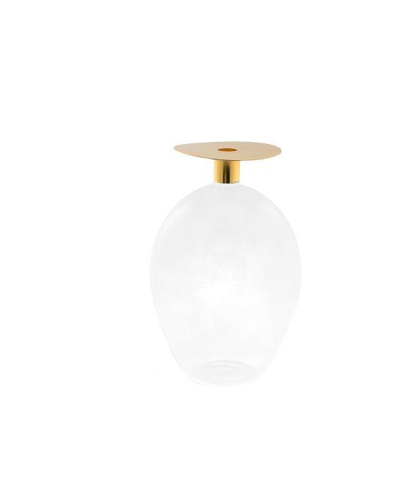 Vaso ampolla vetro coperchio metallo oro 14×24 cm