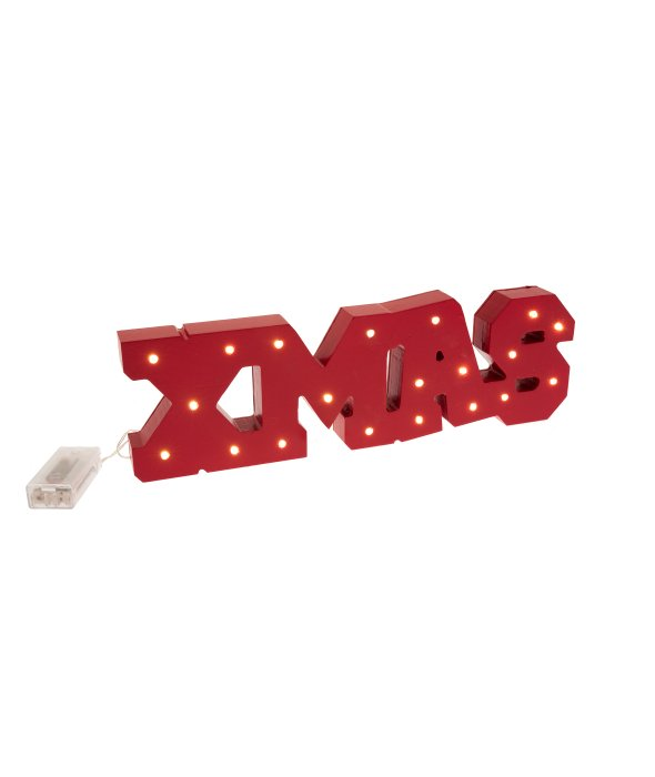 Scritta XMAS legno rosso c/luce 11×38 cm