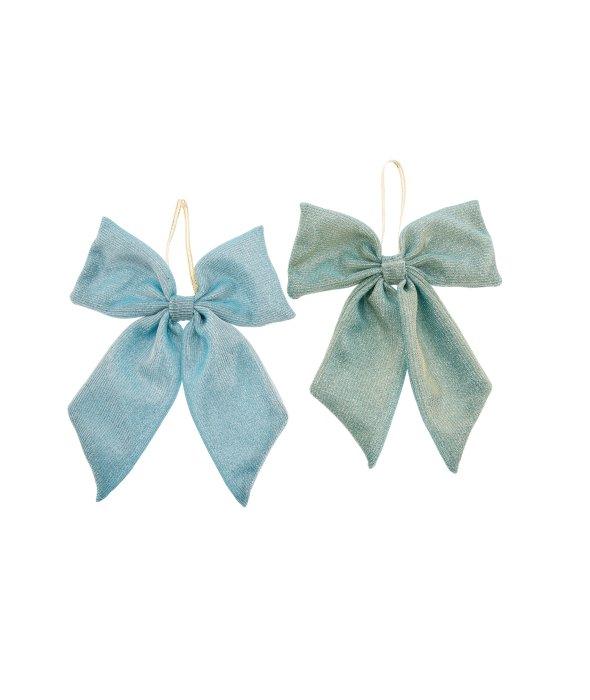 Pendente fiocco tessuto lamè azzurro/verde 15x18cm