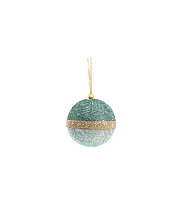 Sfera tessuto lamè azzurro d.8 cm