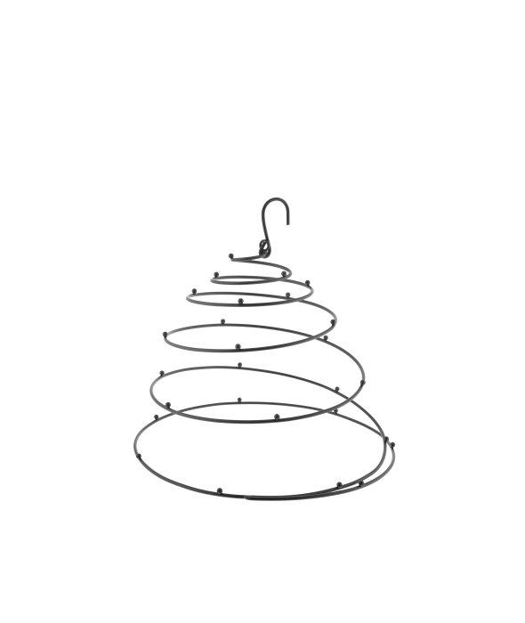 Spirale appendere metallo nero c/ganci d.30 h.27 cm