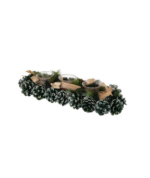 Centrotavola  pigne verdi-legnetti 9×37 cm